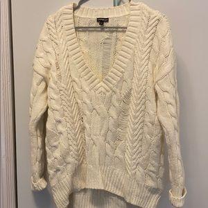 Off-White Deep V-Neck Sweater